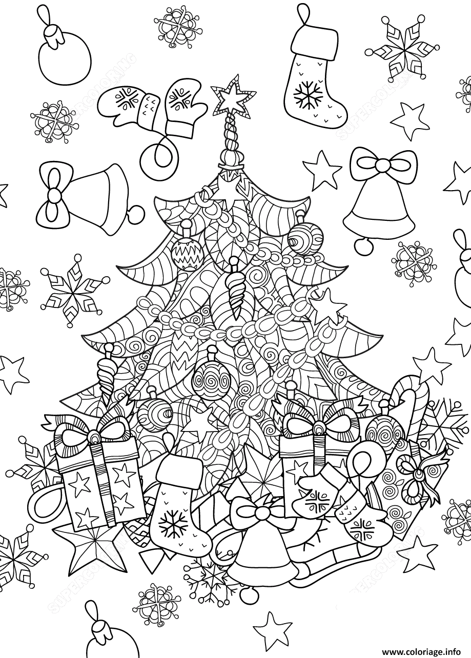 coloriage christmas tree zentangle sapin de noel dessin. Black Bedroom Furniture Sets. Home Design Ideas