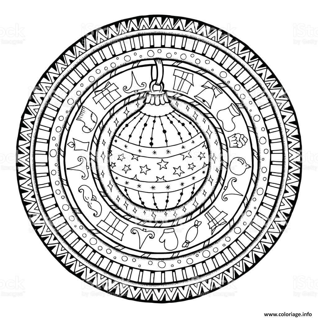 Coloriage mandala de noel cadeaux boule de noel dessin - Coloriage de mandala de noel ...