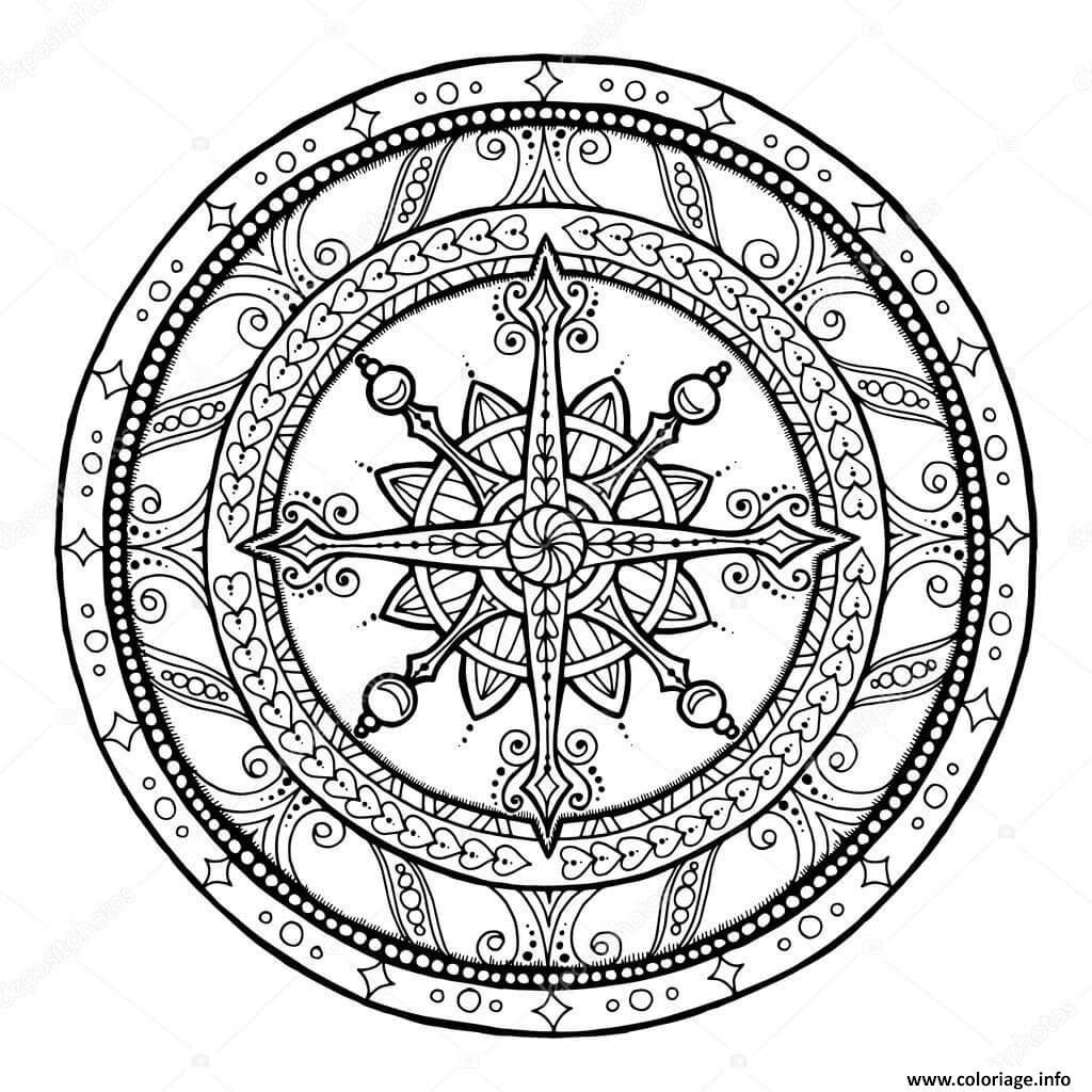 Coloriage mandala noel hiver neige dessin - Dessin theme noel ...
