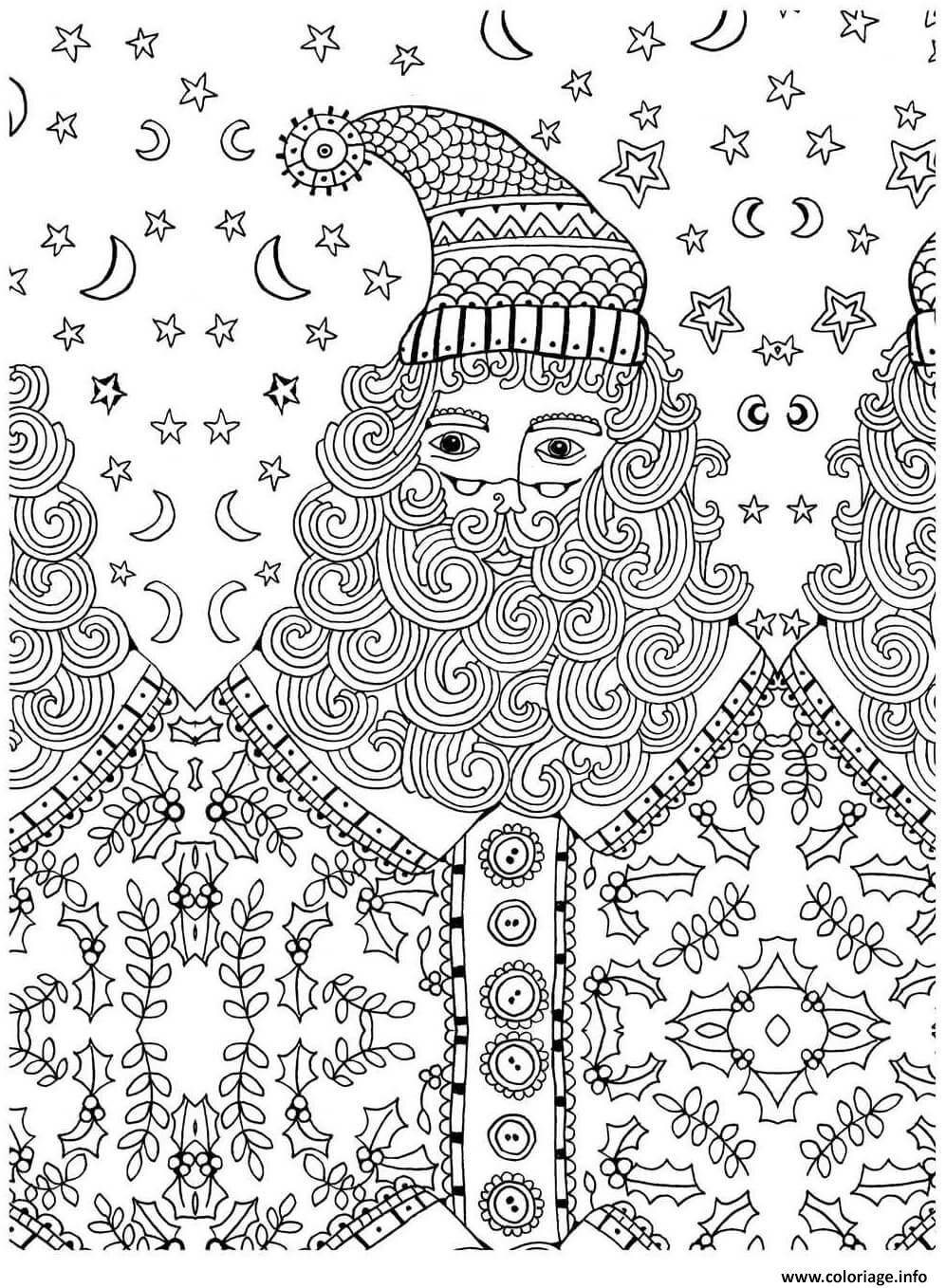 Coloriage pere noel adulte anti stress dessin - Image anti stress ...