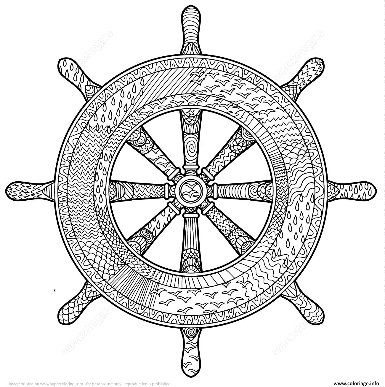 Dessin marine handwheel zentangle adulte Coloriage Gratuit à Imprimer