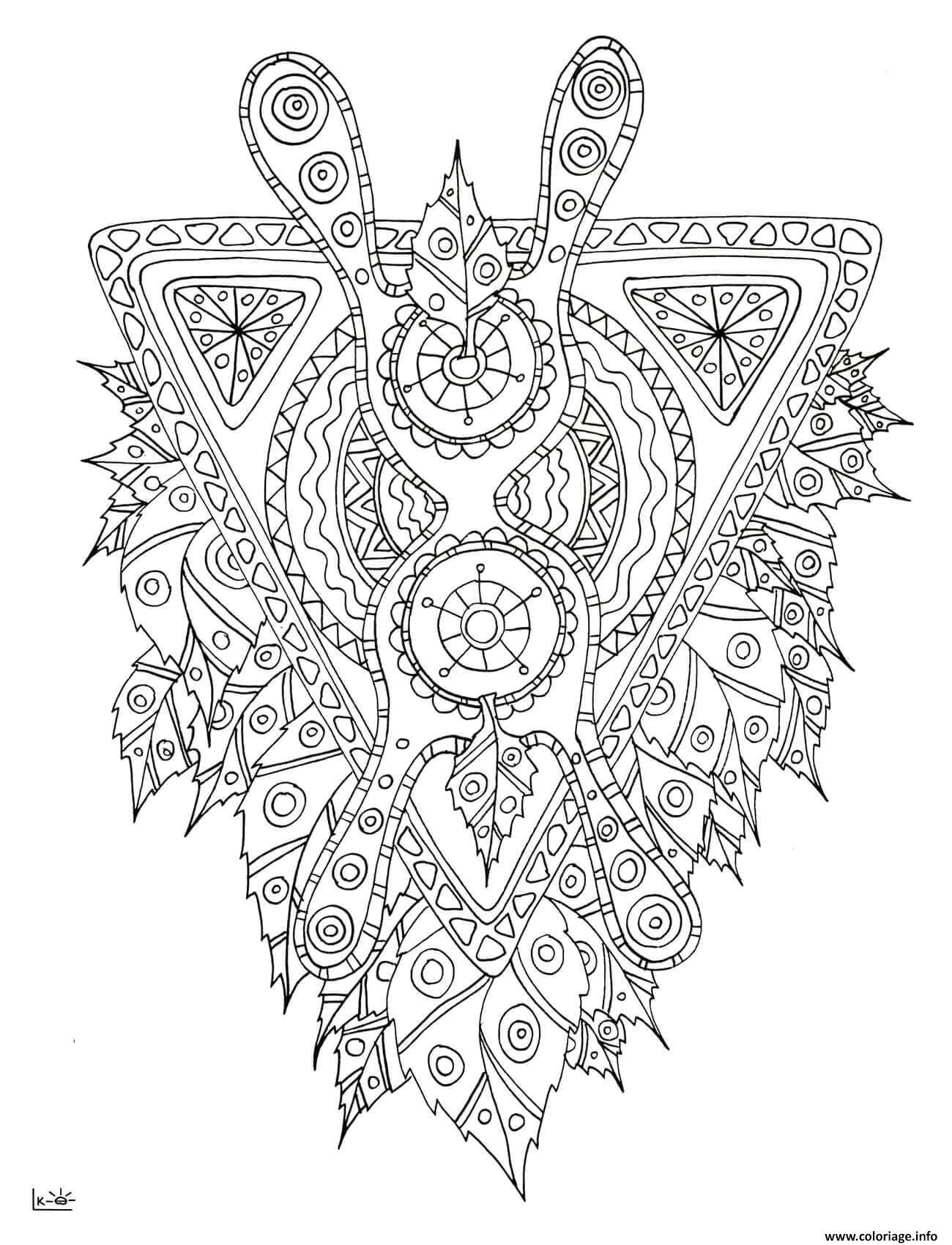 Dessin mythical creature with tribal pattern adulte Coloriage Gratuit à Imprimer