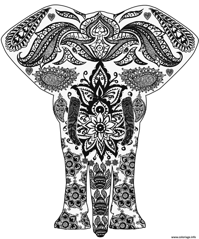 Dessin elephant zentangle adulte Coloriage Gratuit à Imprimer