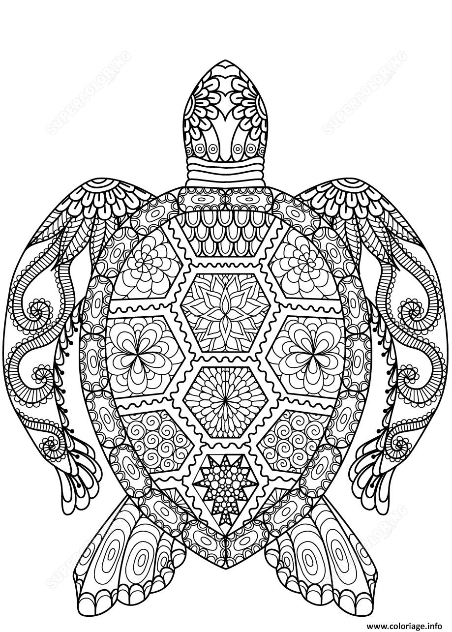 Dessin turtle zentangle adulte Coloriage Gratuit à Imprimer