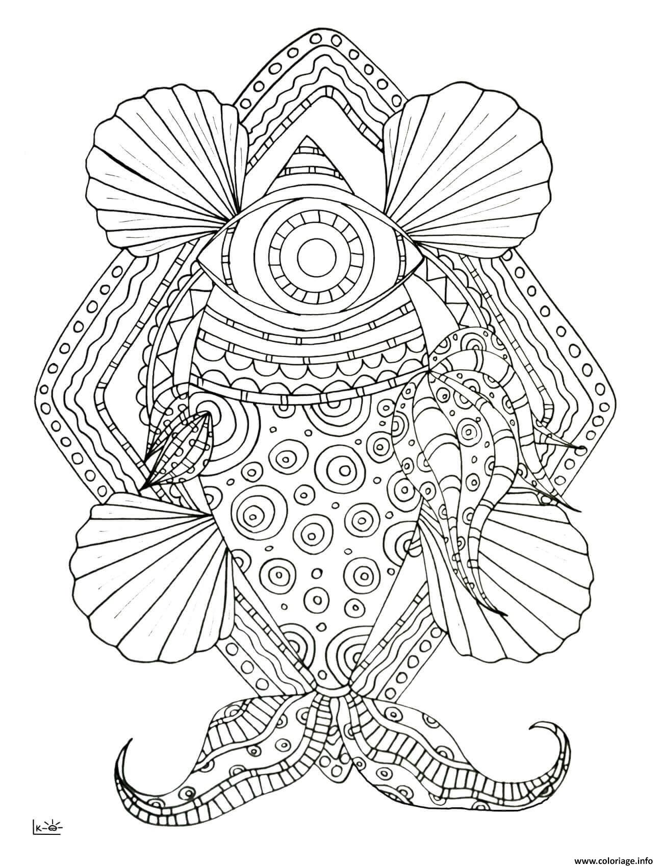 Coloriage Fish With Tribal Pattern Adulte Dessin à Imprimer