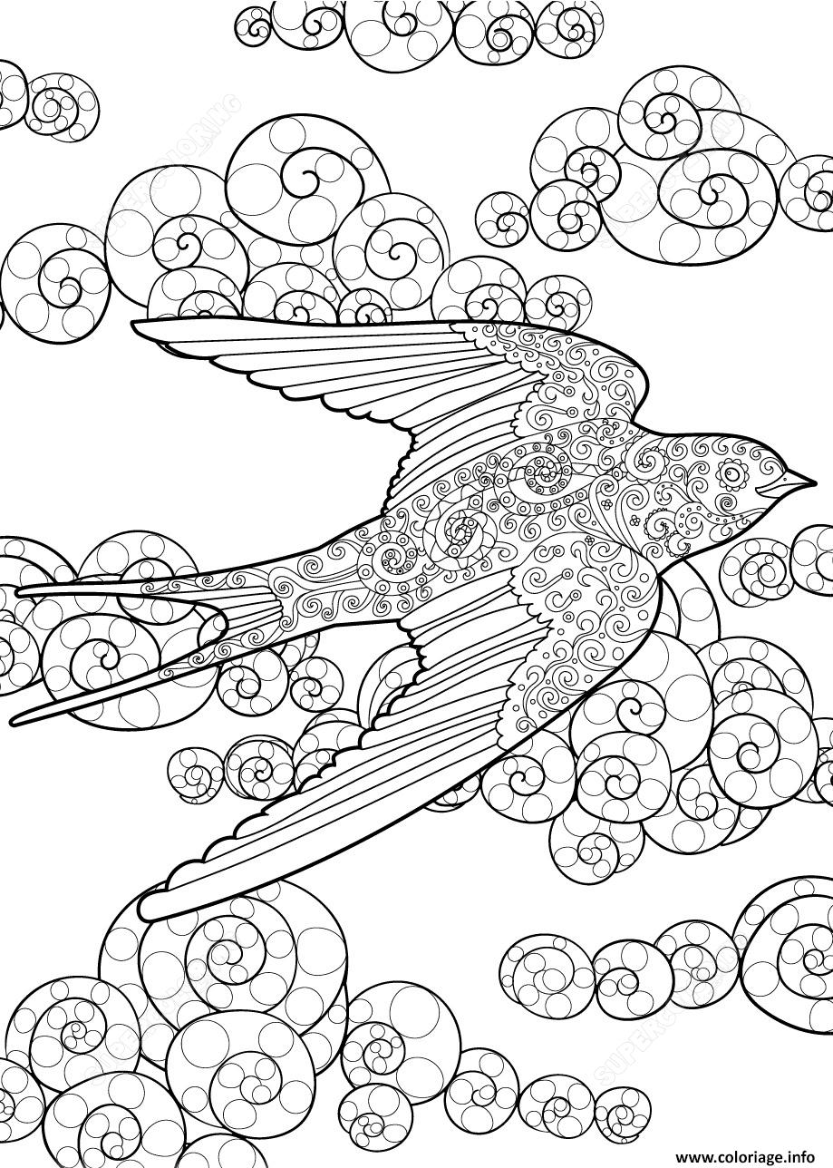 Dessin swallow in the sky zentangle adulte Coloriage Gratuit à Imprimer