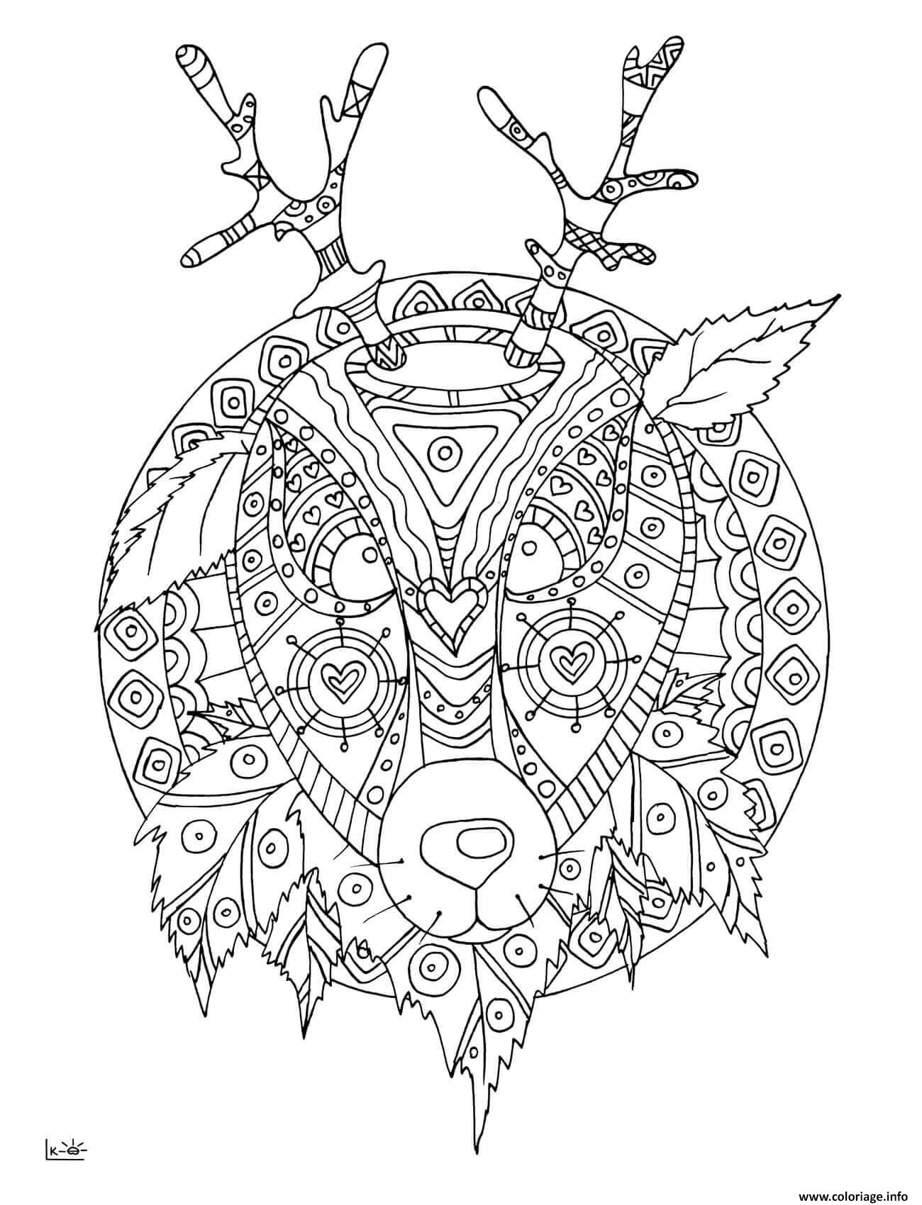 Coloriage Deer With Tribal Pattern Adulte Dessin à Imprimer