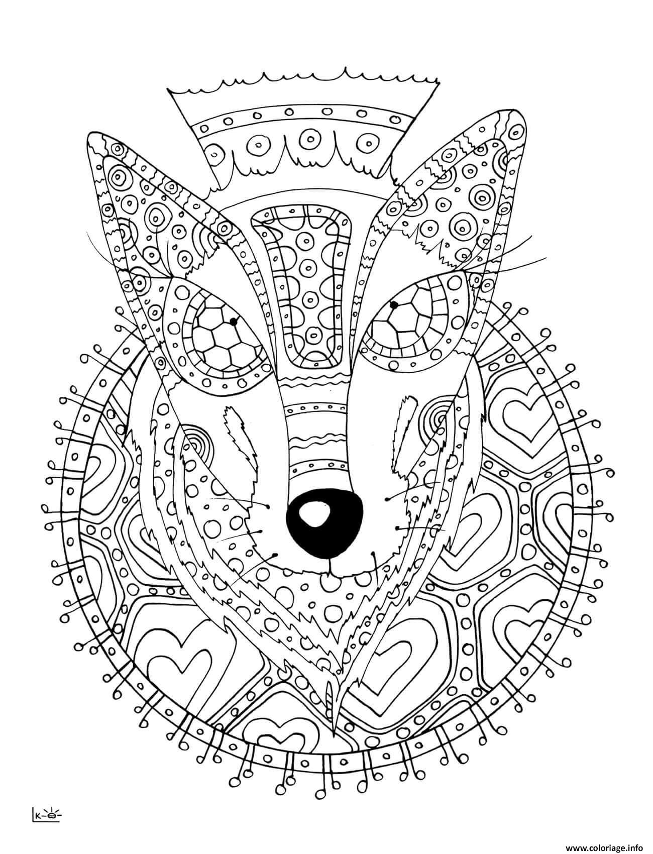 Coloriage Wolf With Tribal Pattern Adulte Dessin à Imprimer