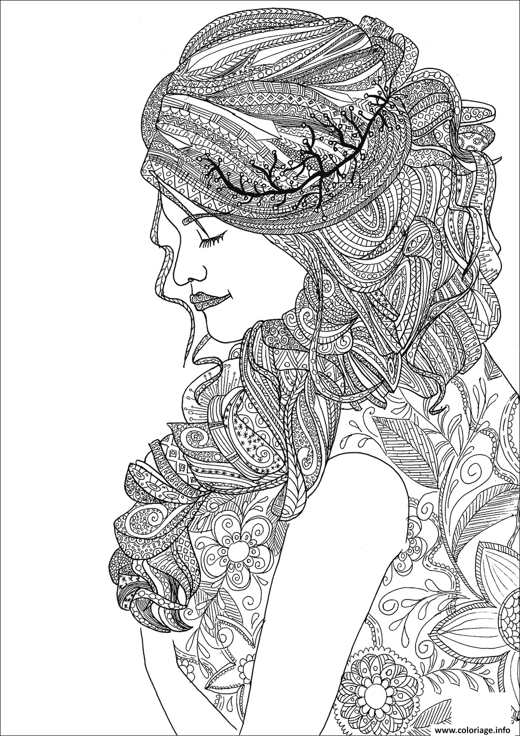 Coloriage Zentangle Woman Dessin à Imprimer