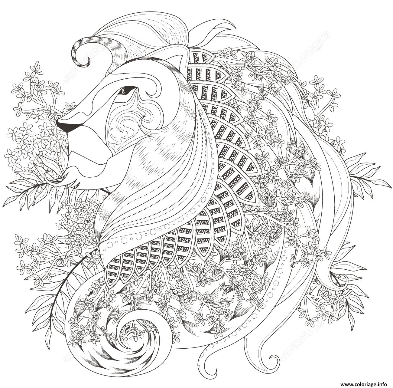 Dessin zentagle lion with floral elements adulte Coloriage Gratuit à Imprimer