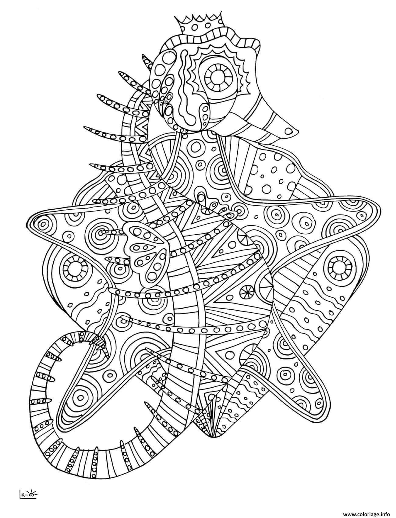 Dessin seahorse with tribal pattern adulte Coloriage Gratuit à Imprimer