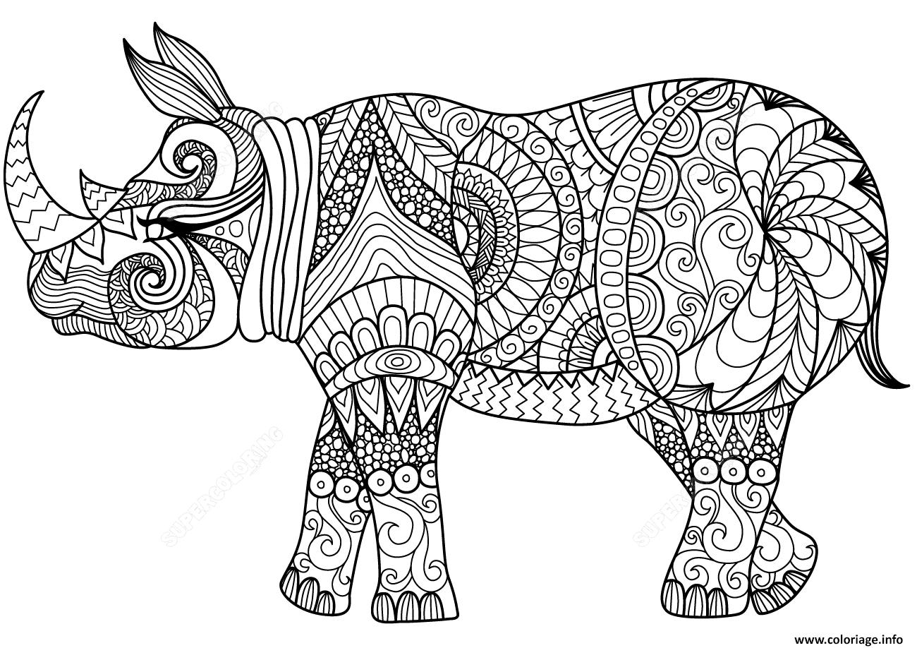 Dessin zentangle rhino adulte Coloriage Gratuit à Imprimer