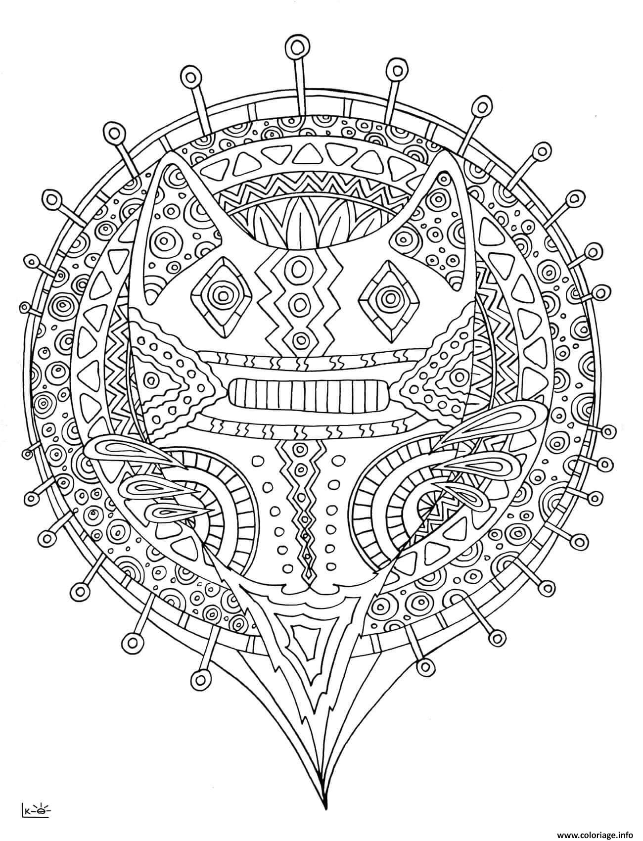 Coloriage Forest Cat With Tribal Pattern Adulte Dessin à Imprimer