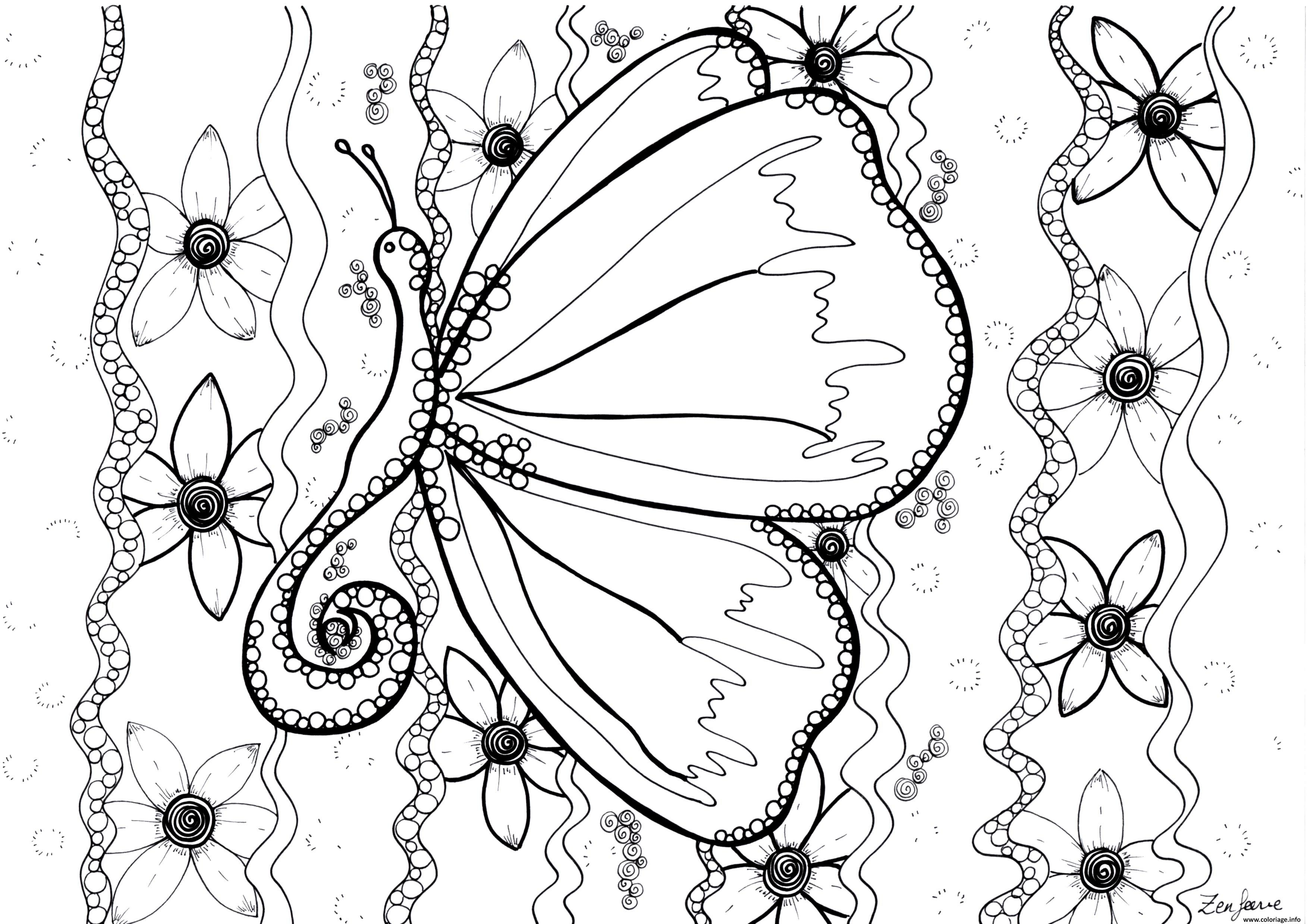 Coloriage Adulte Butterfly By Zenfeerie Dessin à Imprimer