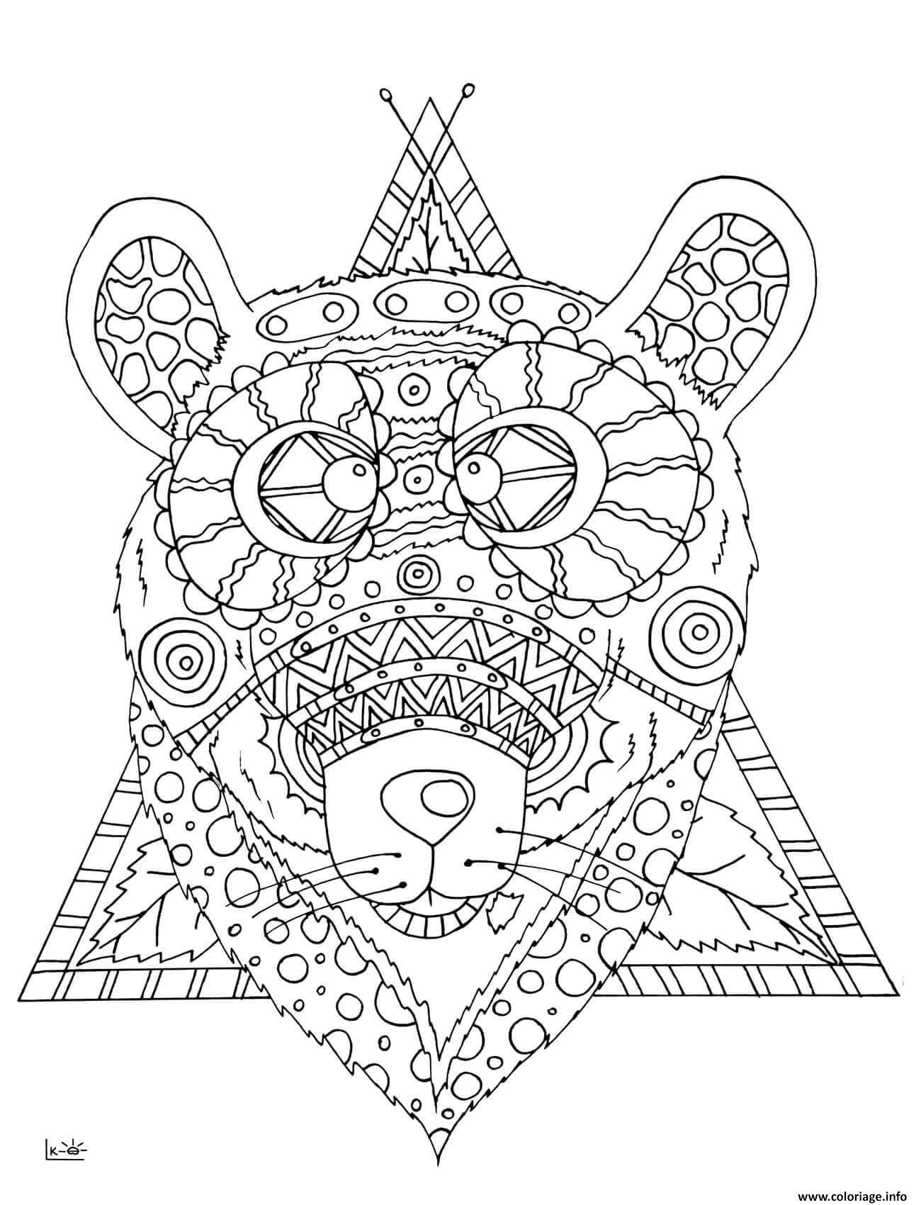 Dessin bear with tribal pattern adulte Coloriage Gratuit à Imprimer