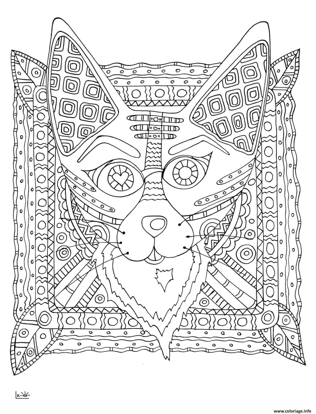 Dessin fox with tribal pattern adulte Coloriage Gratuit à Imprimer