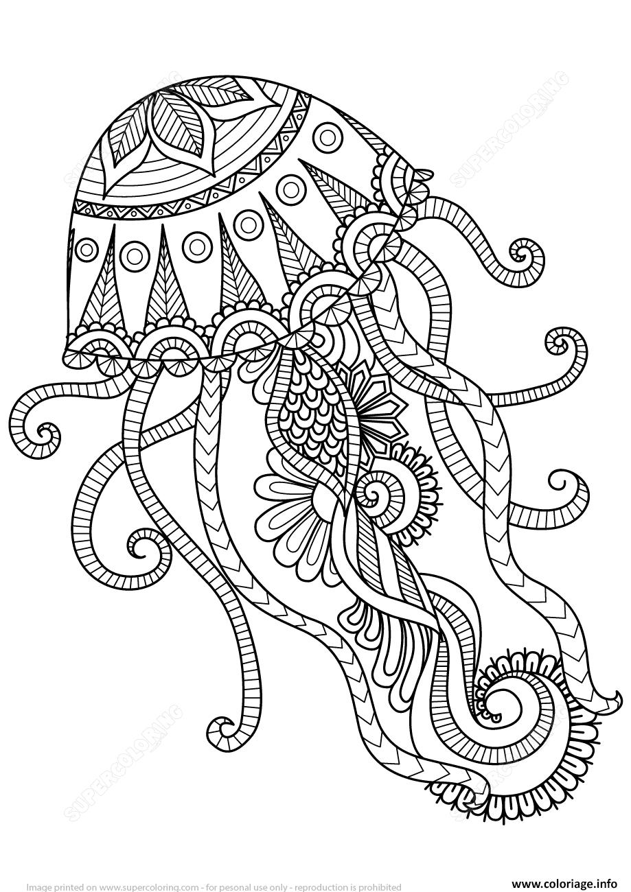 Dessin jellyfish zentangle adulte Coloriage Gratuit à Imprimer