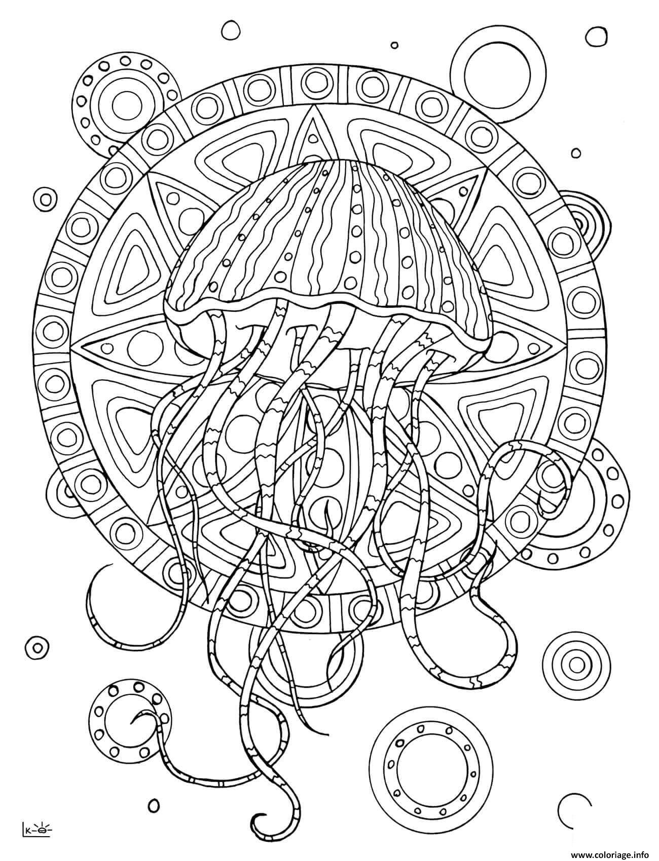 Dessin jellyfish with tribal pattern adulte Coloriage Gratuit à Imprimer