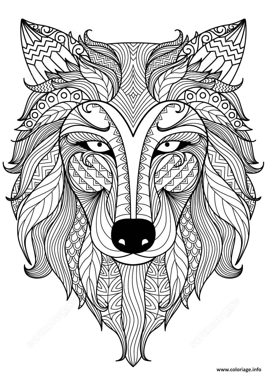 Coloriage Wolf Zentangle Adulte Dessin à Imprimer