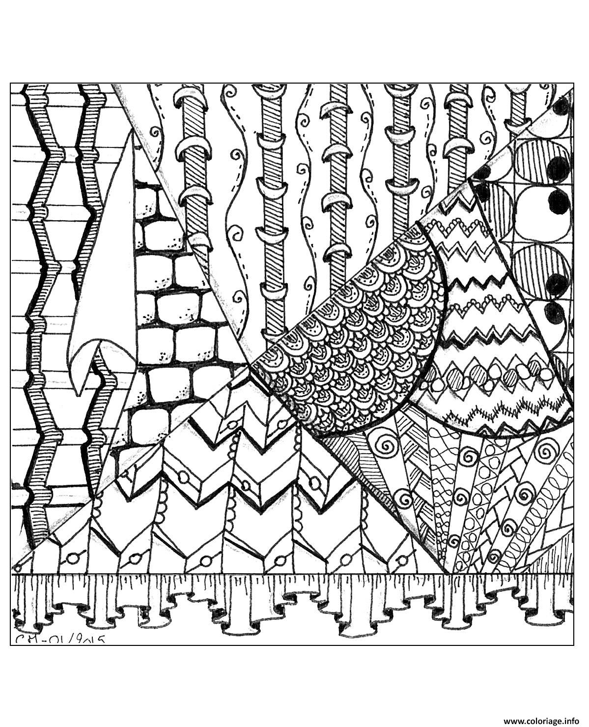 Dessin adulte zentangle by cathym 24 Coloriage Gratuit à Imprimer