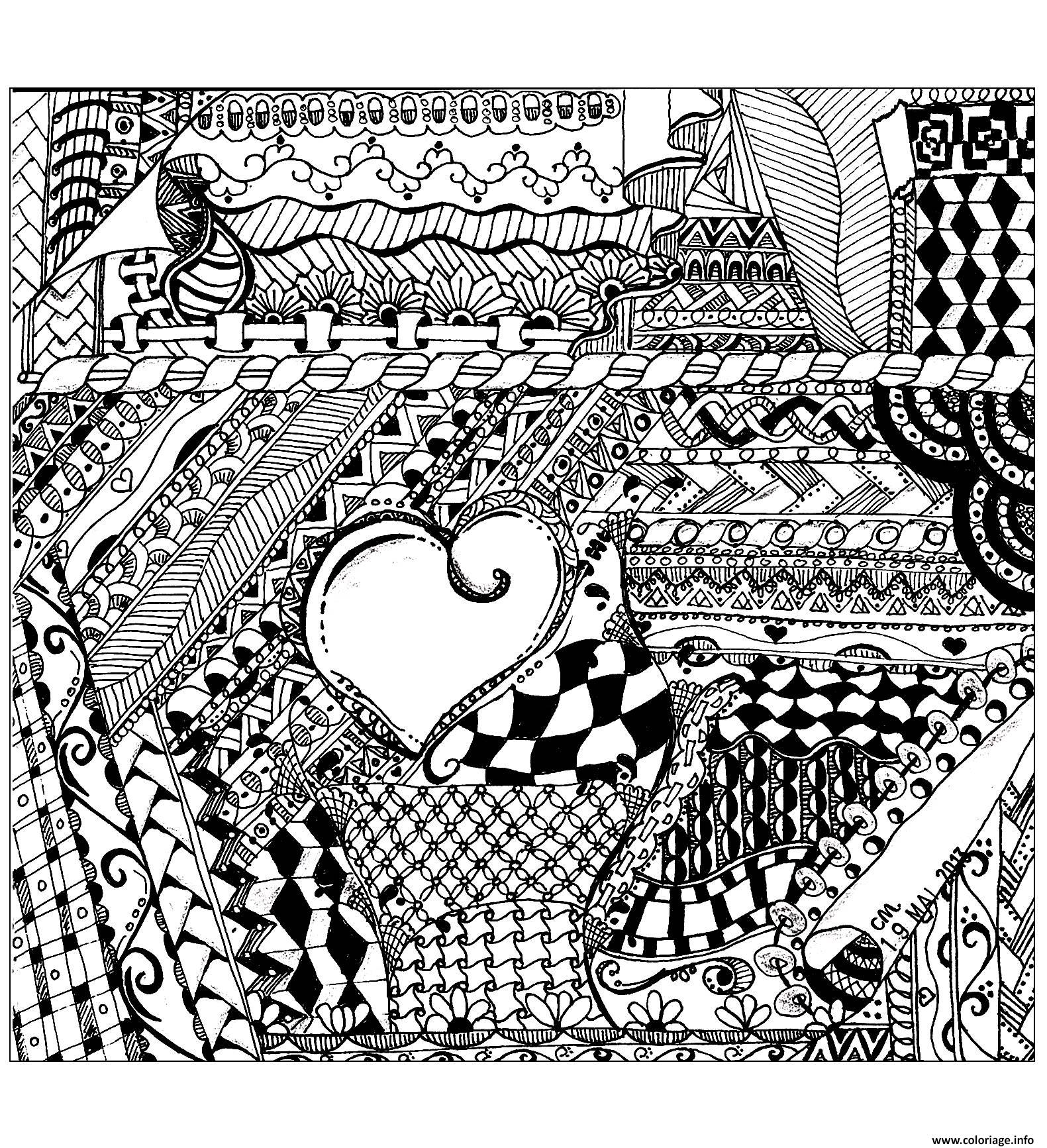 Coloriage Adulte Zentangle By Cathym 13 Dessin à Imprimer