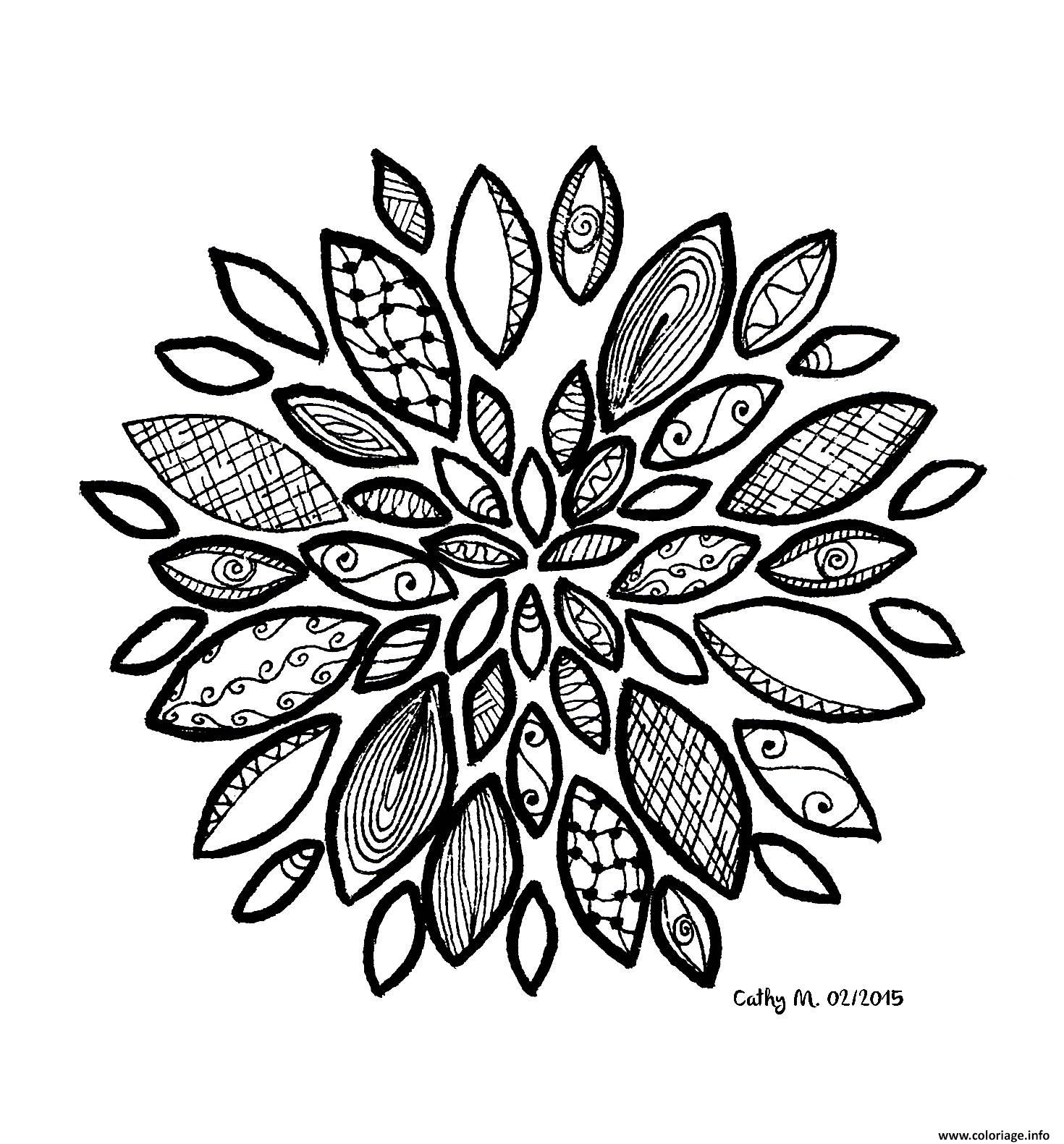 Dessin adulte zentangle by cathym 20 Coloriage Gratuit à Imprimer
