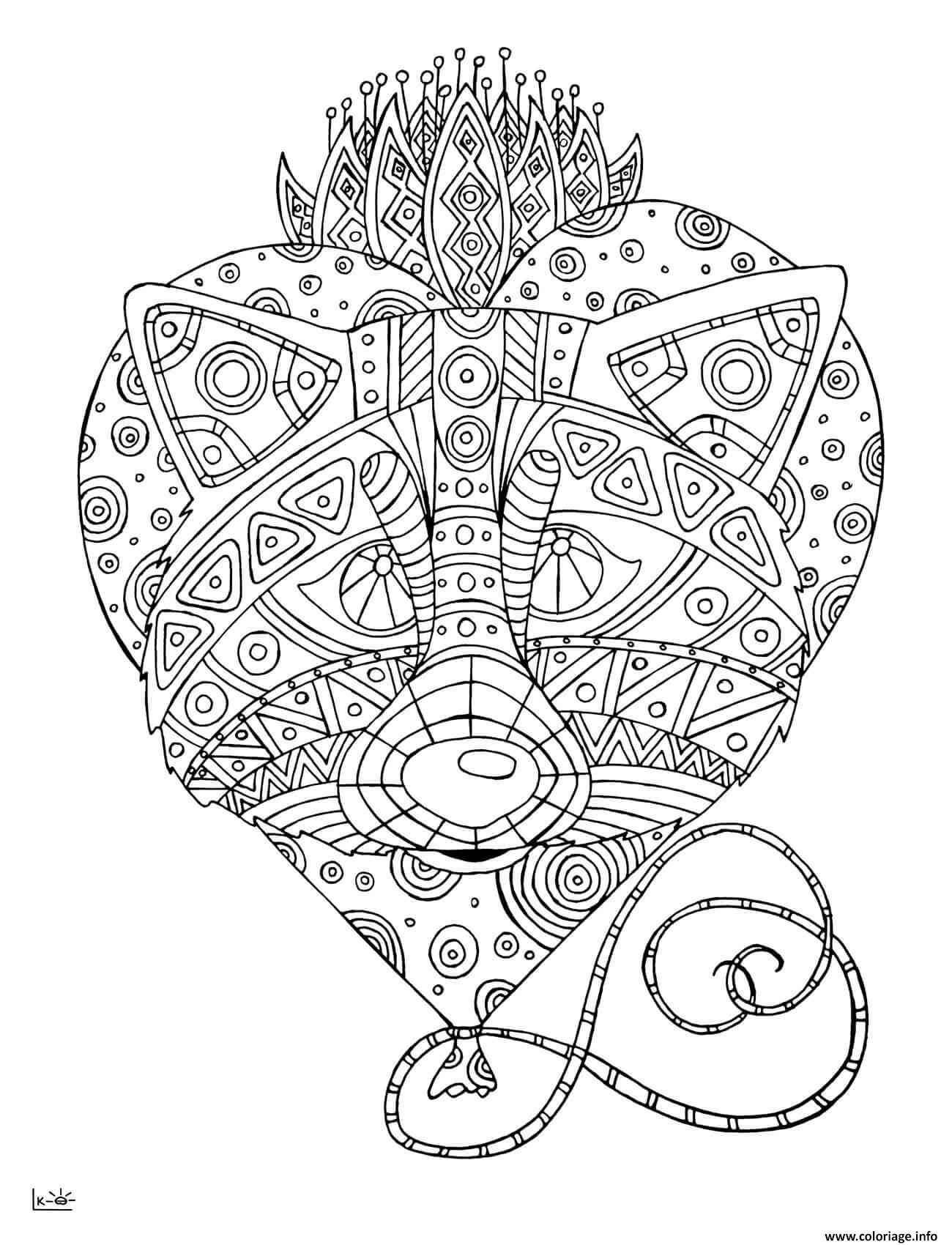 Dessin raccoon with tribal pattern adulte Coloriage Gratuit à Imprimer