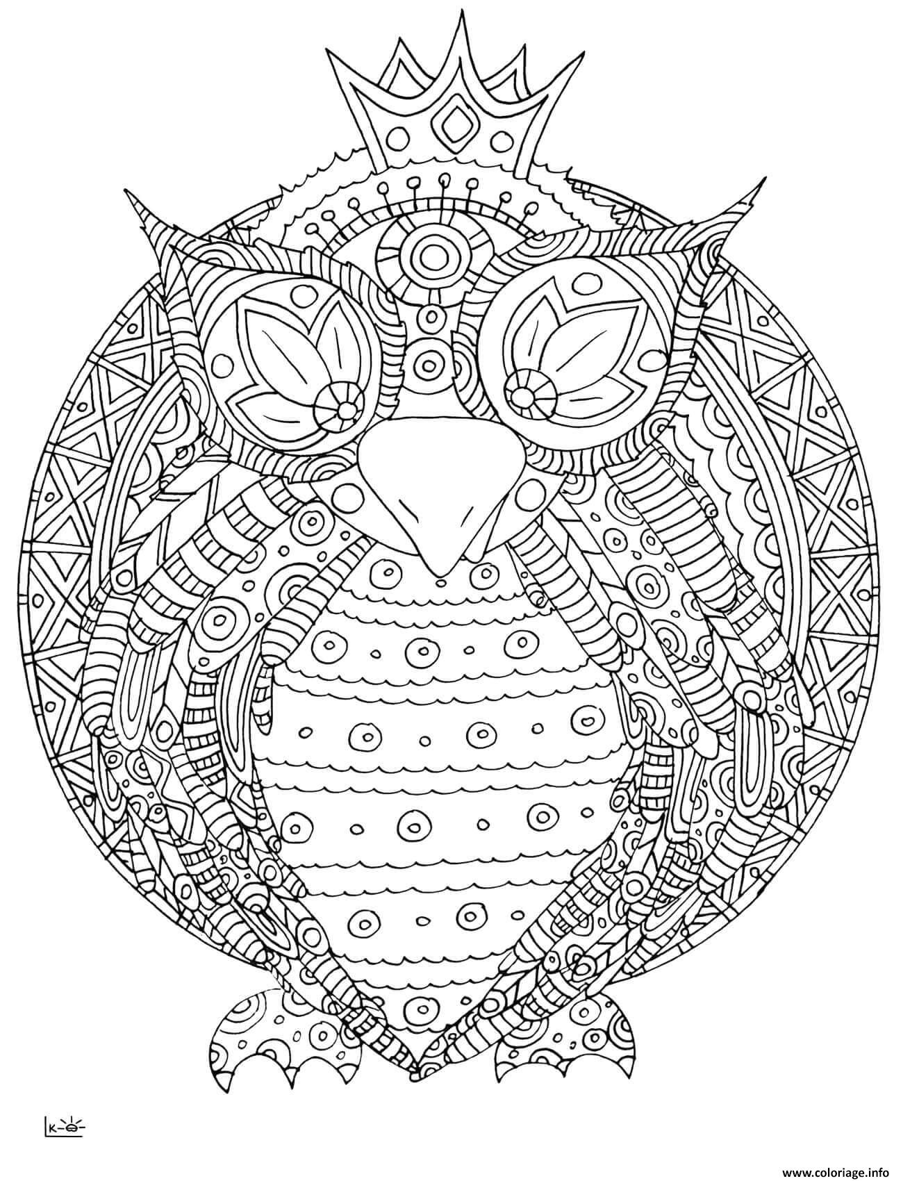 Coloriage Owl With Tribal Pattern Adulte Dessin à Imprimer