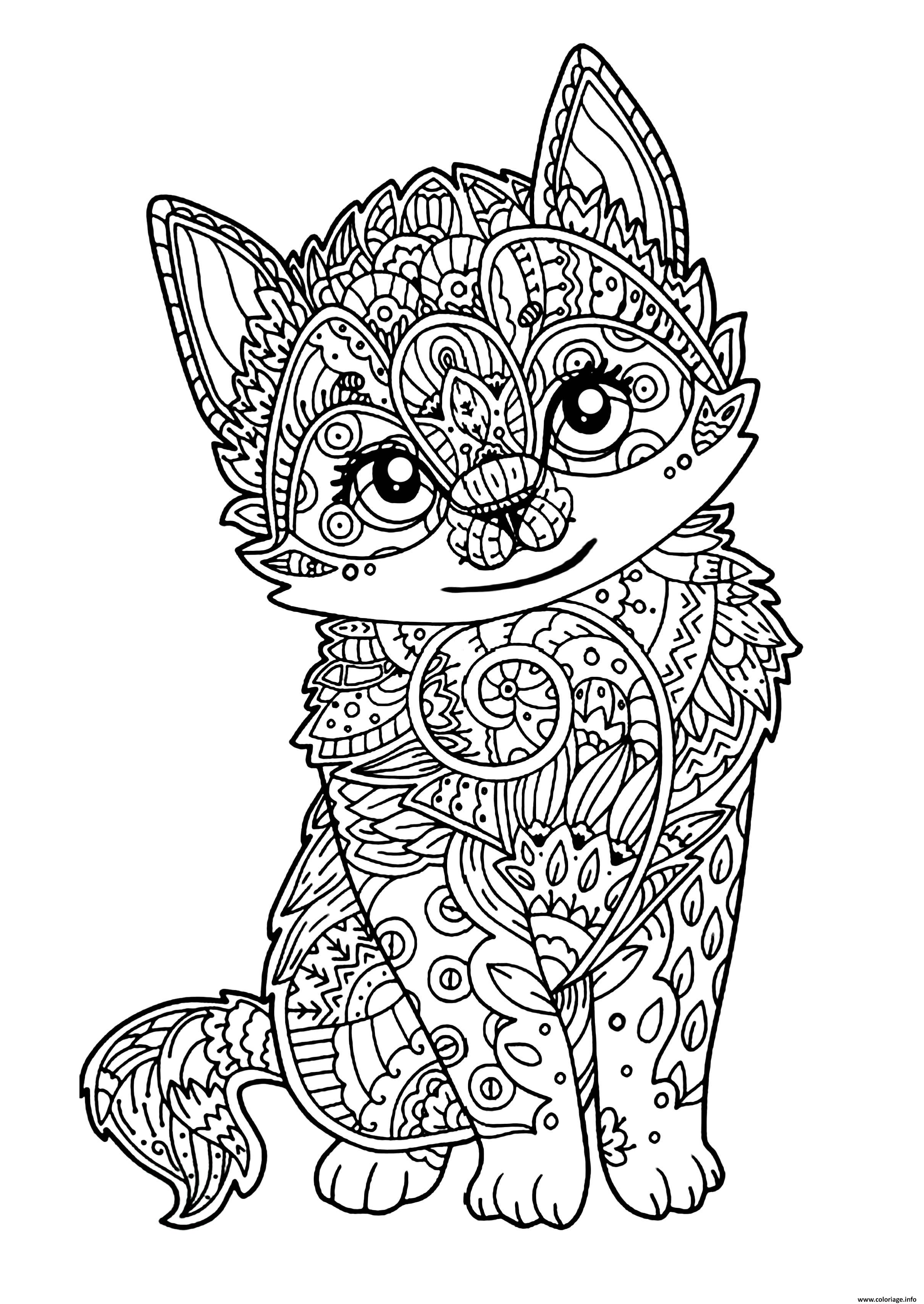 Coloriage Chat Mignon Chaton Adulte Jecolorie Com