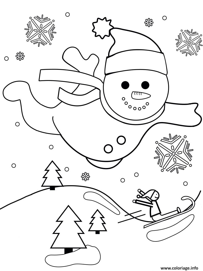 Coloriage bonhomme de neige vol au dessus dun paysage de - Bonhomme de neige coloriage ...