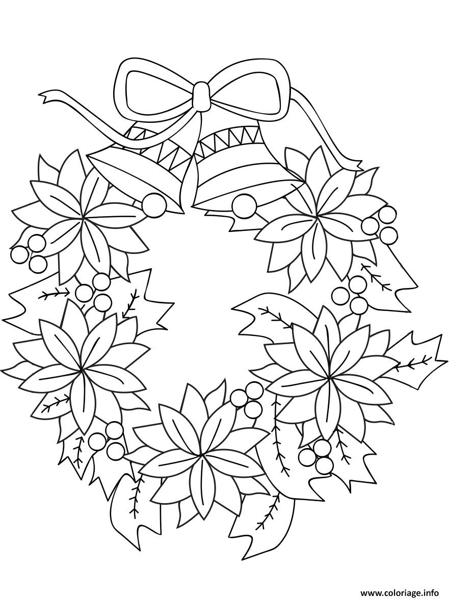 Coloriage couronne de noel avec fleurs et cloches
