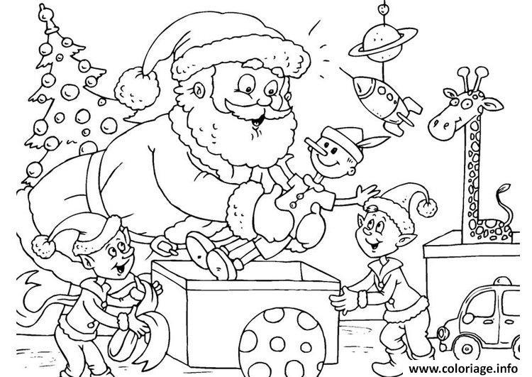 Coloriage Pere Noel Et Ses Lutins Avec Des Cadeaux dessin