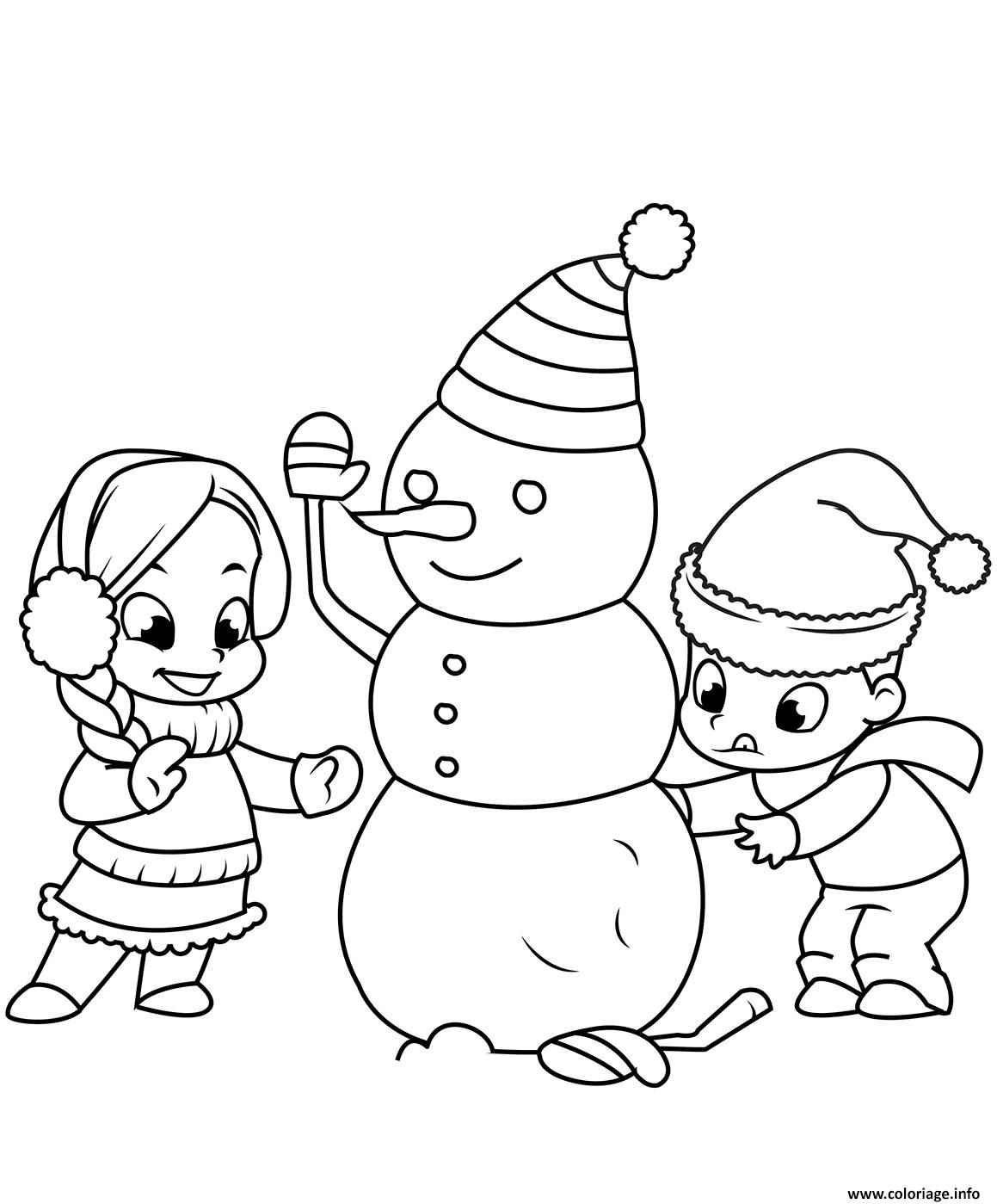 Coloriage les enfants construisent un bonhomme de neige dessin - Bonhomme de neige a imprimer gratuit ...