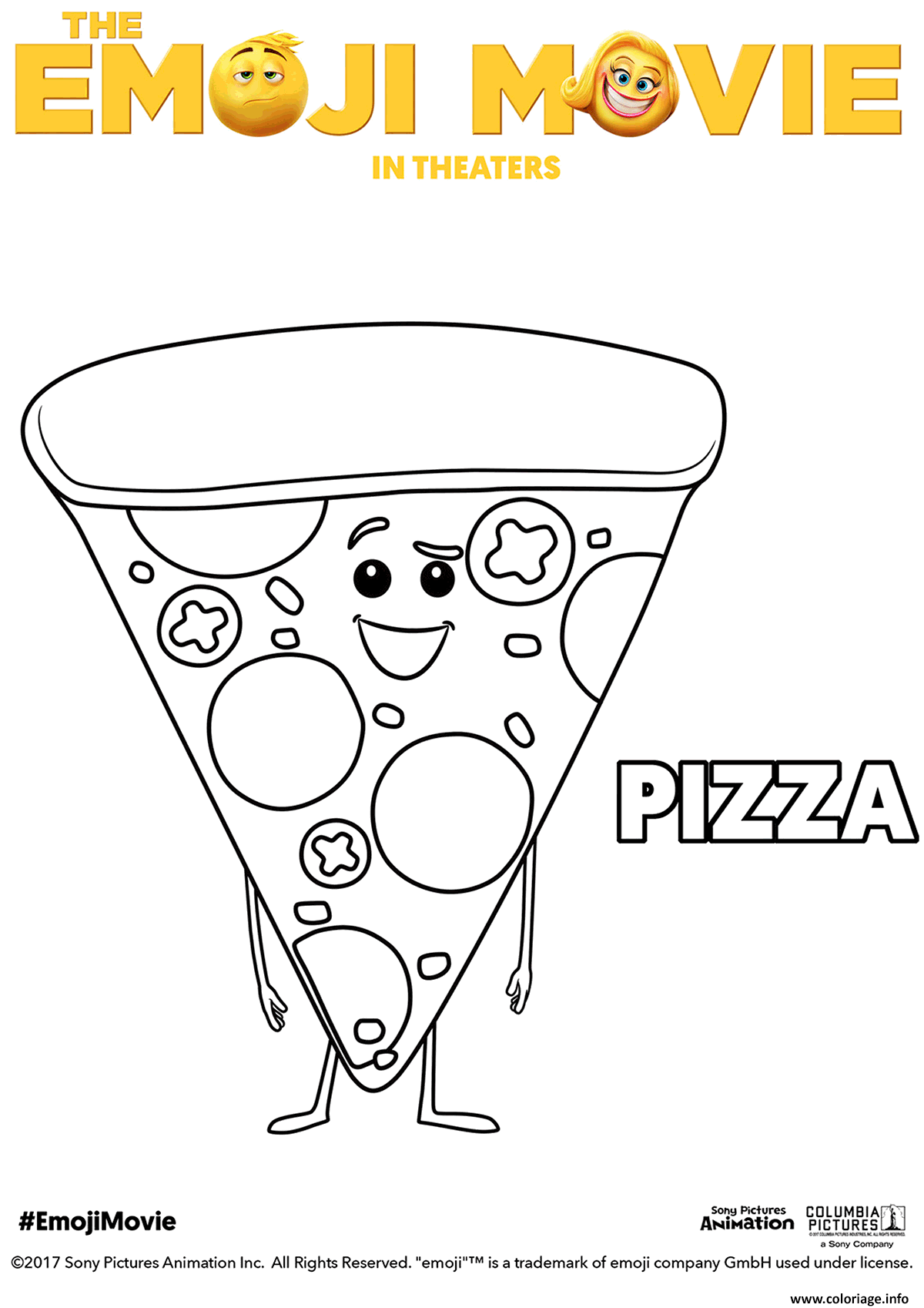 Coloriage Pizza Emoji Monde Secret Des Emojis dessin