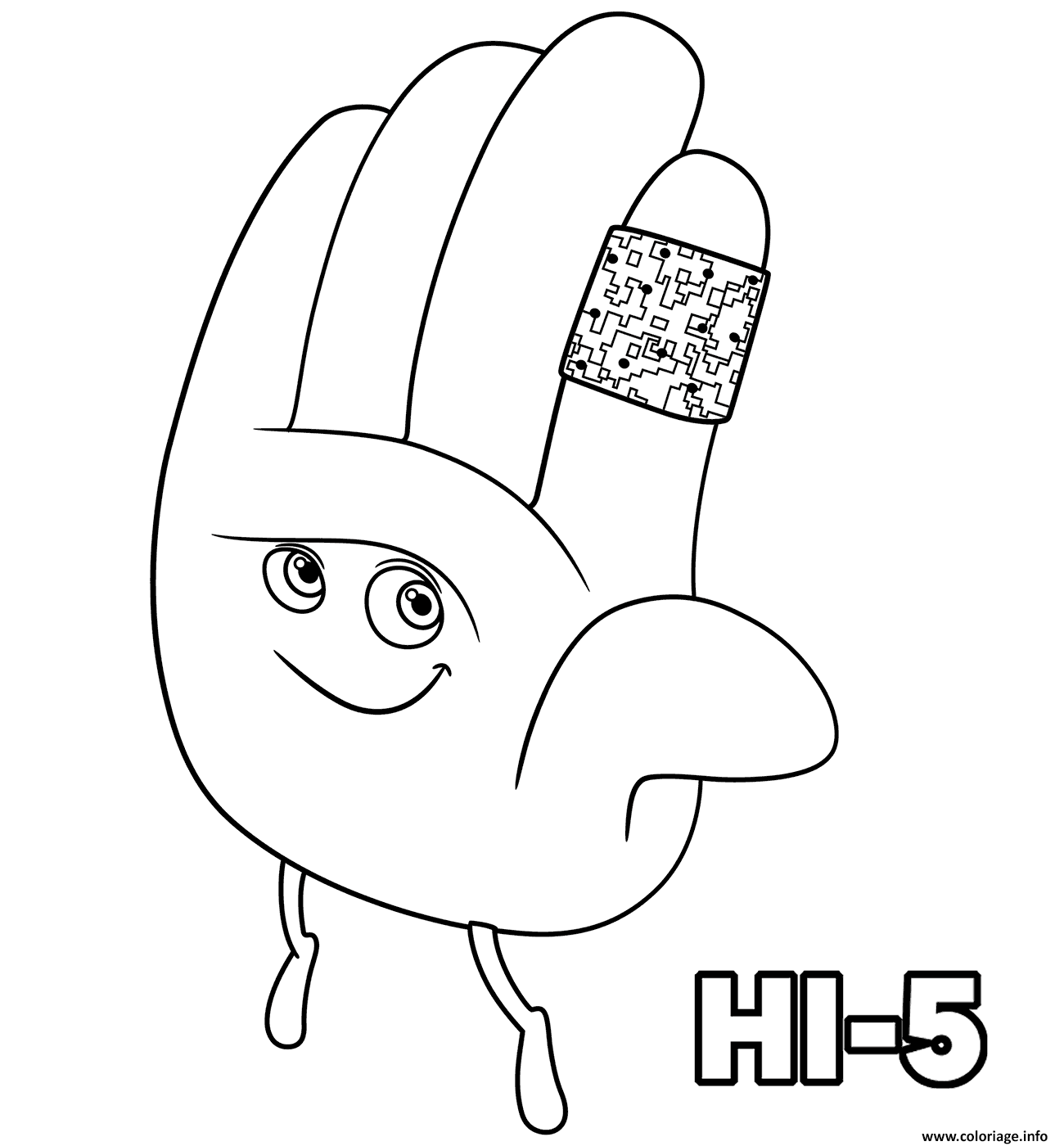Coloriage Hi Five The Emoji Monde Secret Des Emojis Dessin