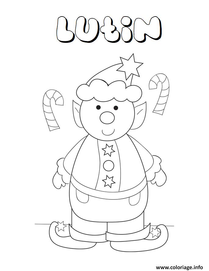 Coloriage lutin de noel maternelle enfant scolaire dessin - Coloriages noel maternelle ...