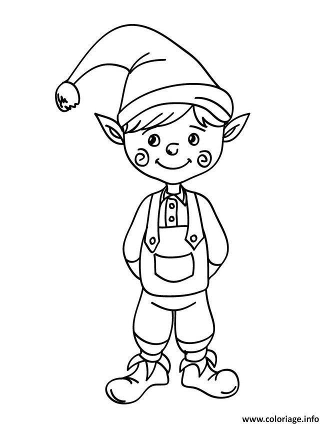 Coloriage Lutin De Noel Souriant Enfant Jecolorie Com