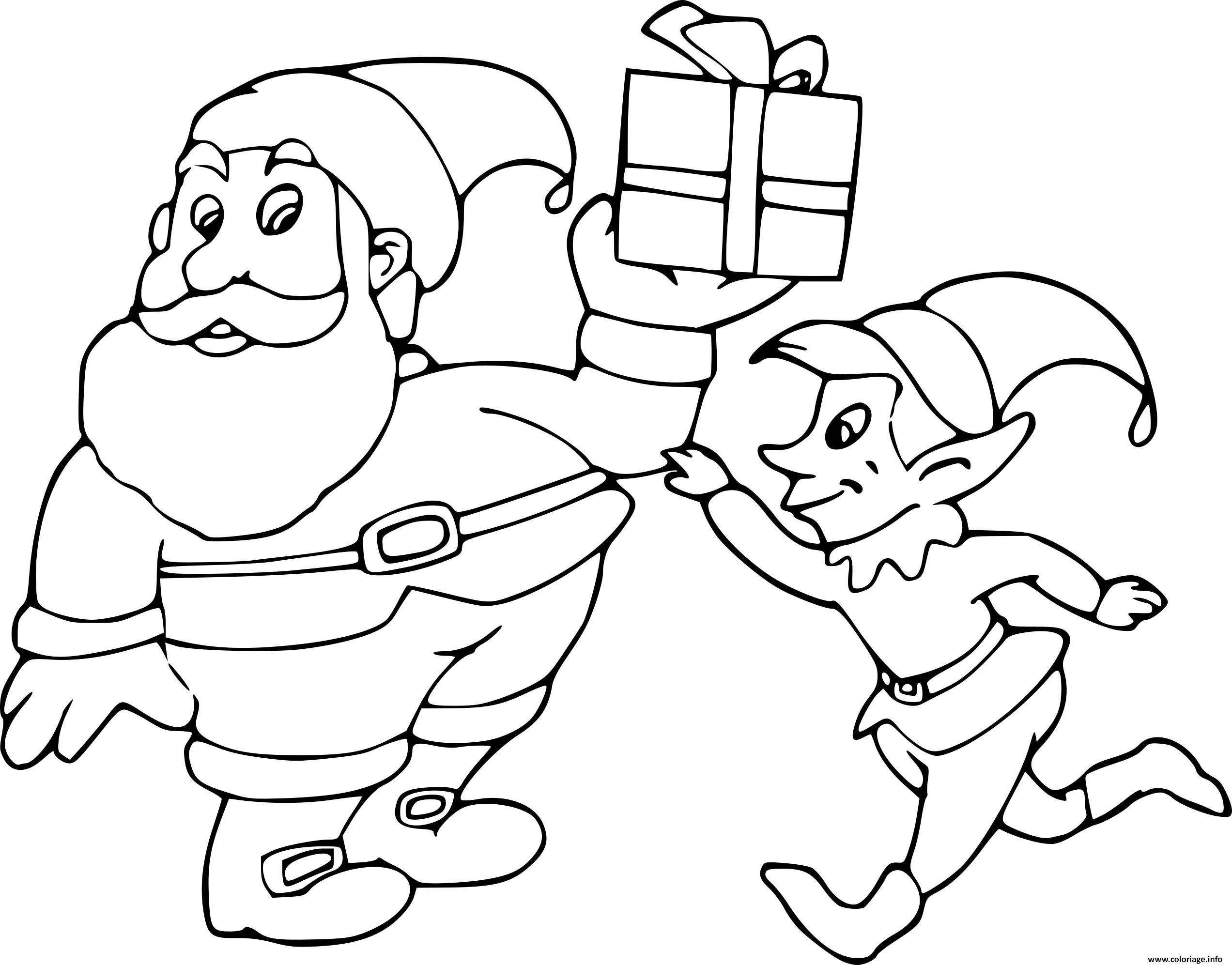 Coloriage Le Pere Noel Et Le Lutin dessin