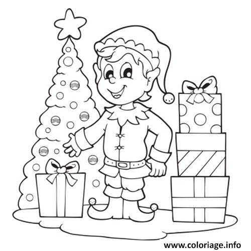 Dessin lutin de noel sapin et cadeaux Coloriage Gratuit à Imprimer