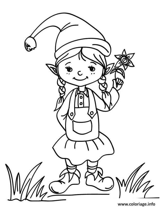 Coloriage lutin de noel fille avec une fleur - Coloriage de lutin ...