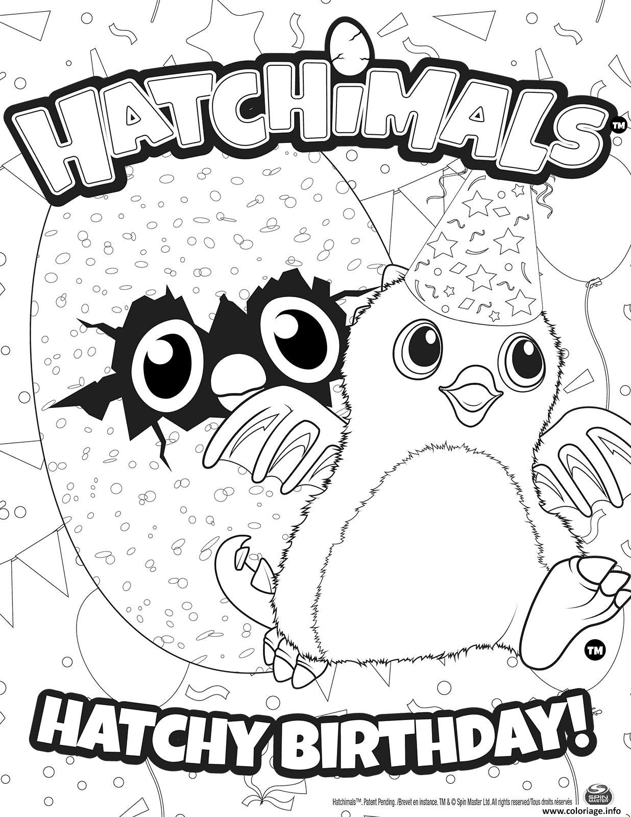 Coloriage Hatchimals Joyeux Anniversaire Jecolorie Com
