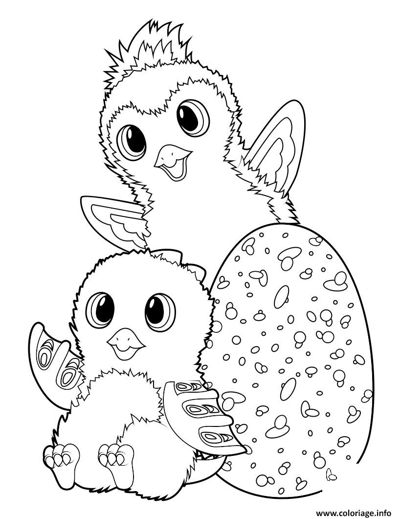 Coloriage Hatchimals Draggle And Penguala Dessin