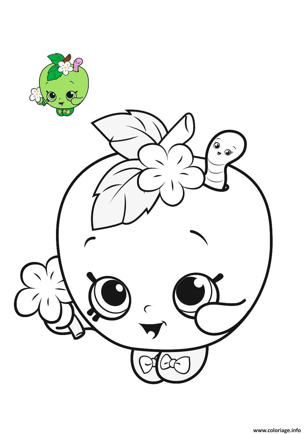 Coloriage shopkins happy apple pomme - JeColorie.com