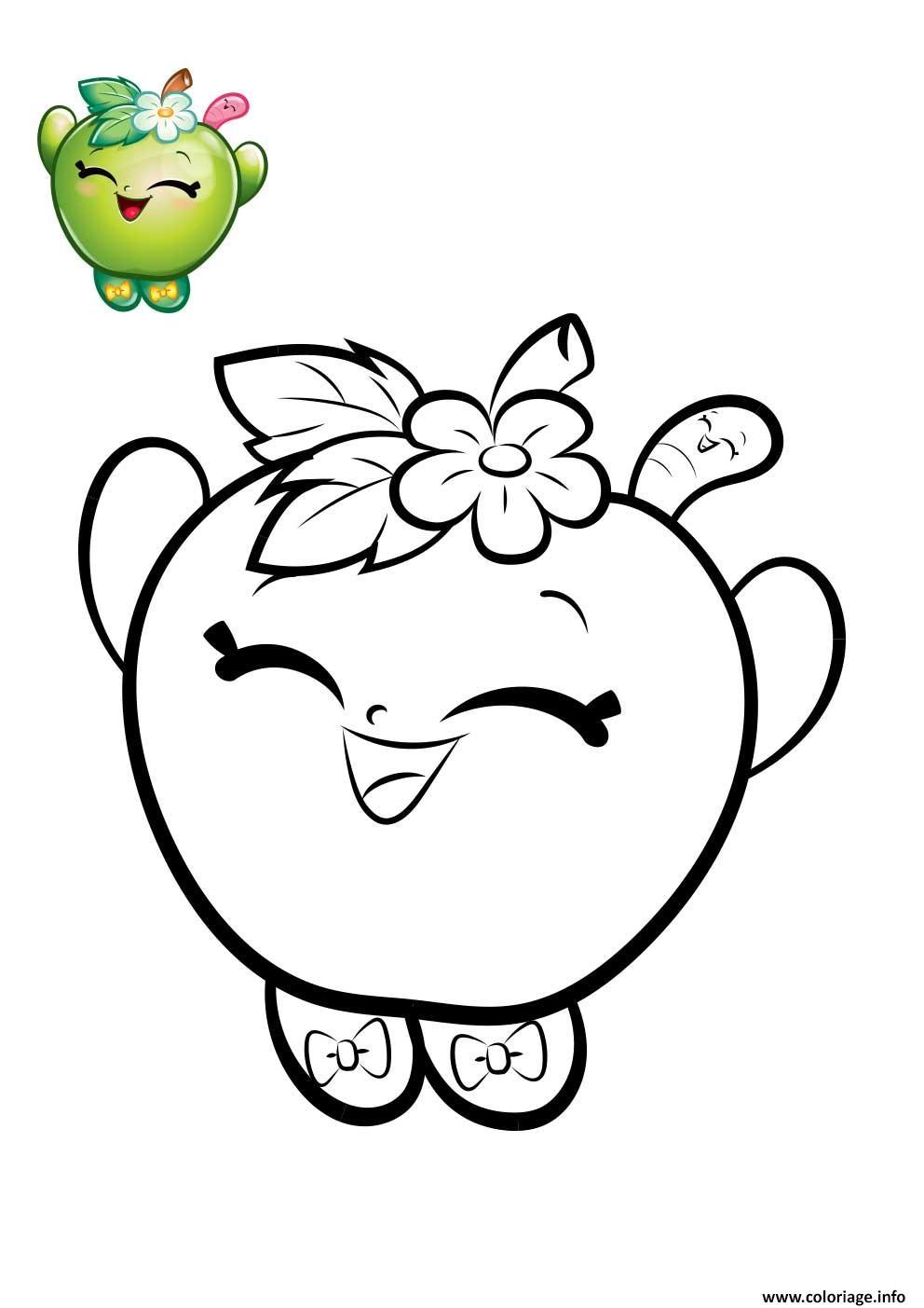Dessin shopkins pomme verte Coloriage Gratuit à Imprimer