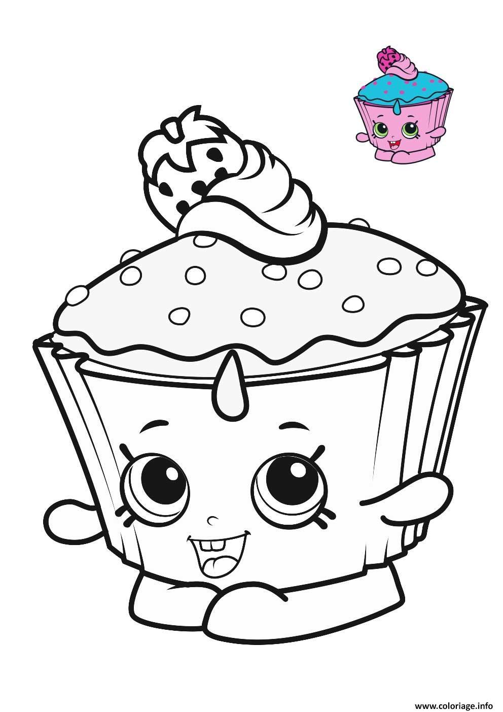 Coloriage shopkins cupcake blue pink dessin - Dessin cupcake ...