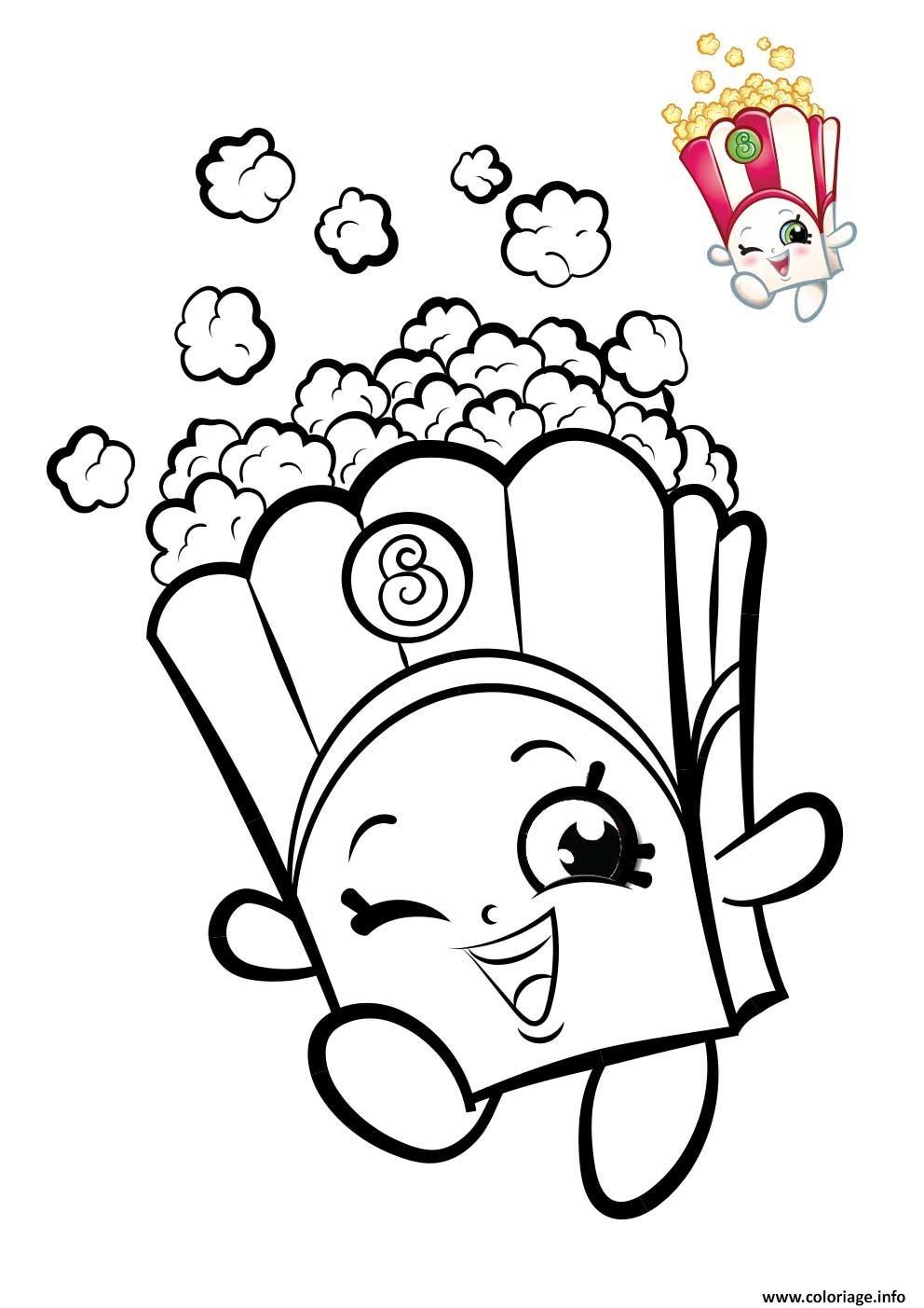 Coloriage Shopkins Popcorn Dessin