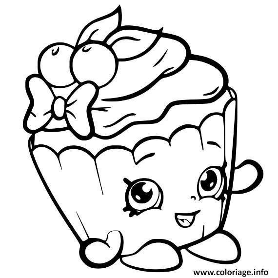 Dessin shopkins cupcake cute Coloriage Gratuit à Imprimer