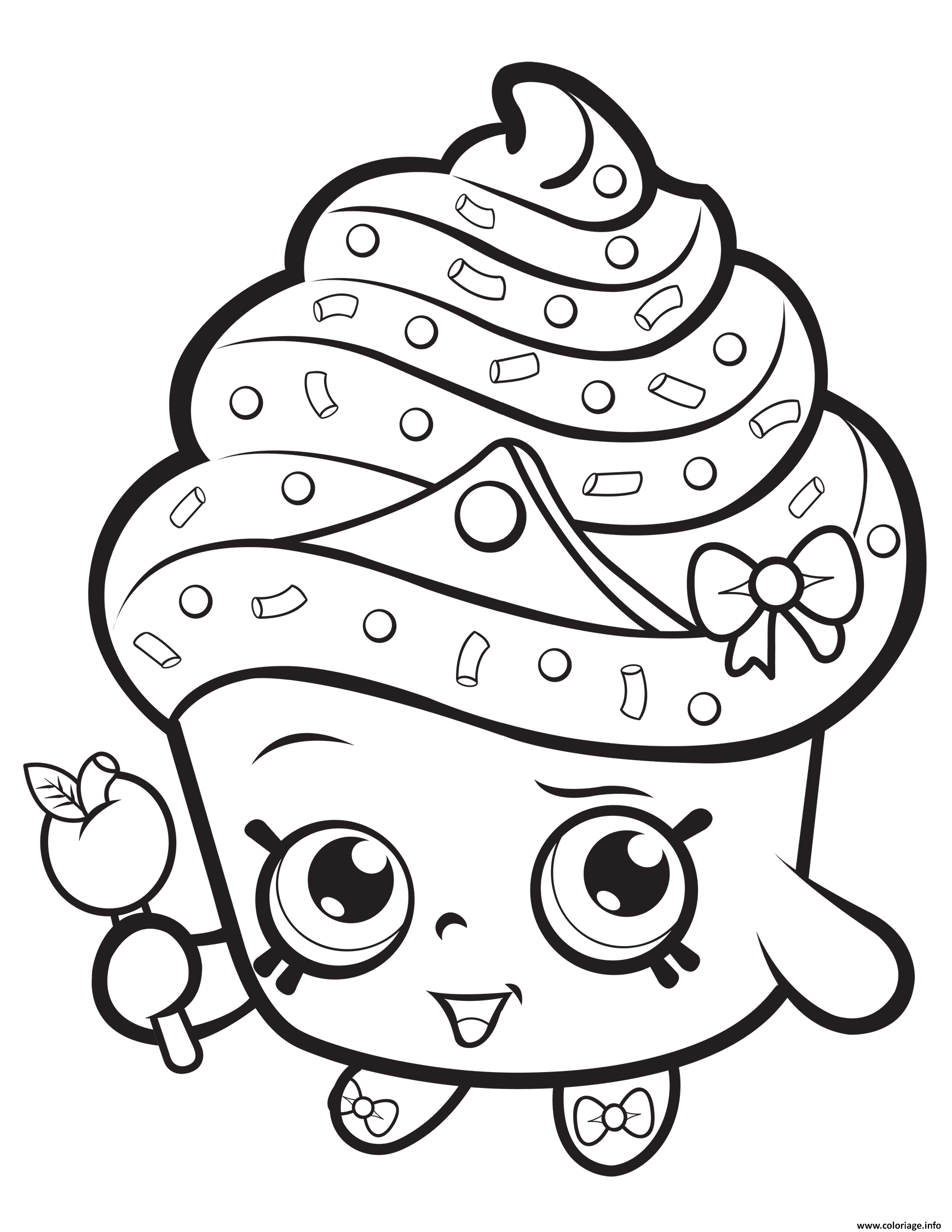 Coloriage cupcake queen shopkins dessin for Lipstick shopkins coloring page