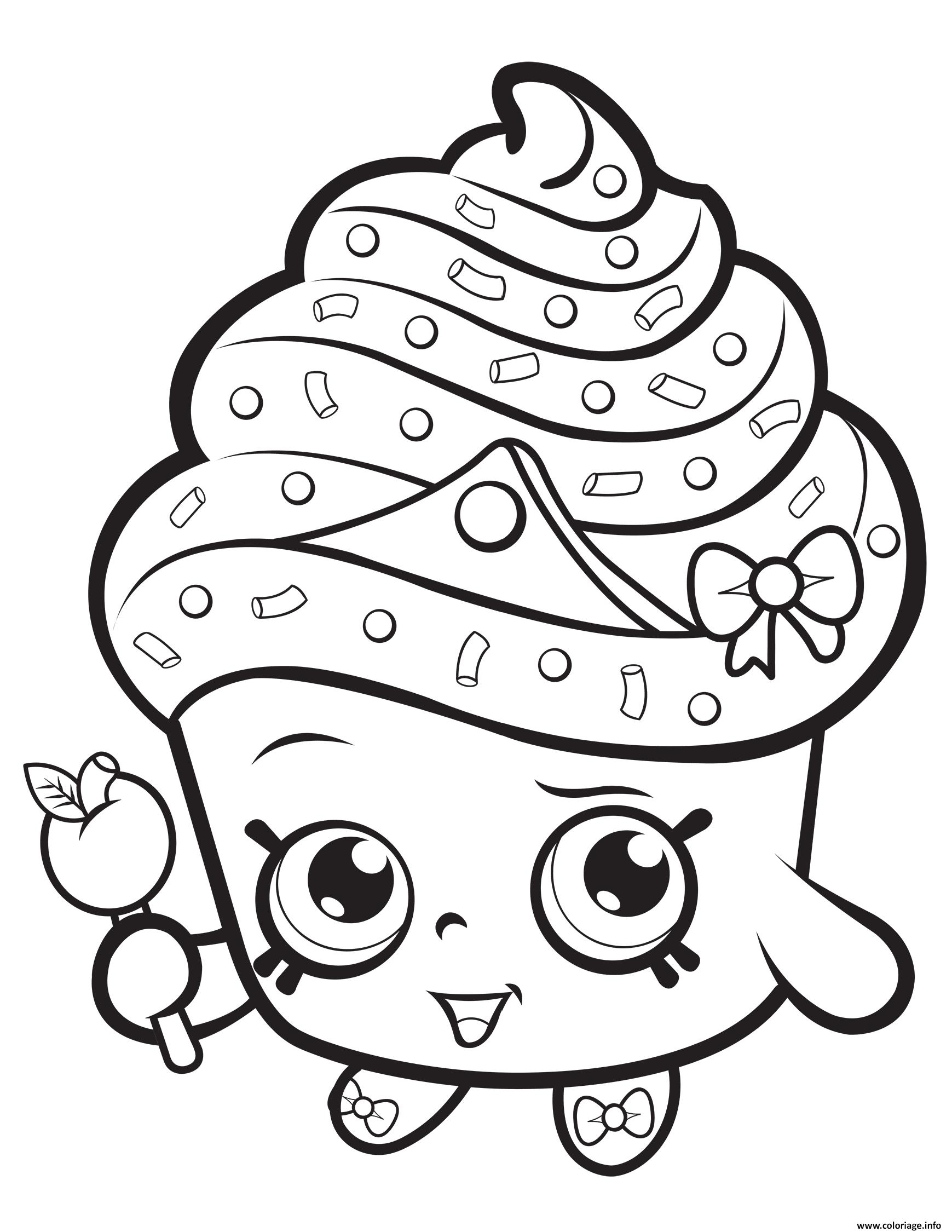 Coloriage cupcake queen shopkins dessin - Dessin cupcake ...