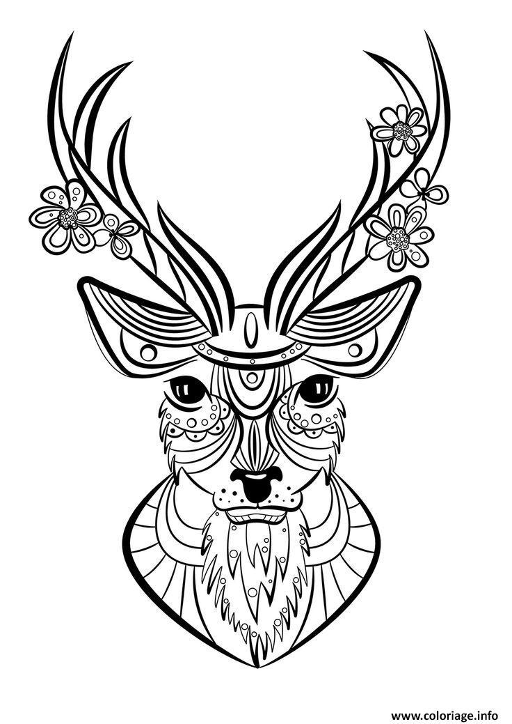 Coloriage cerf adulte animaux - JeColorie.com